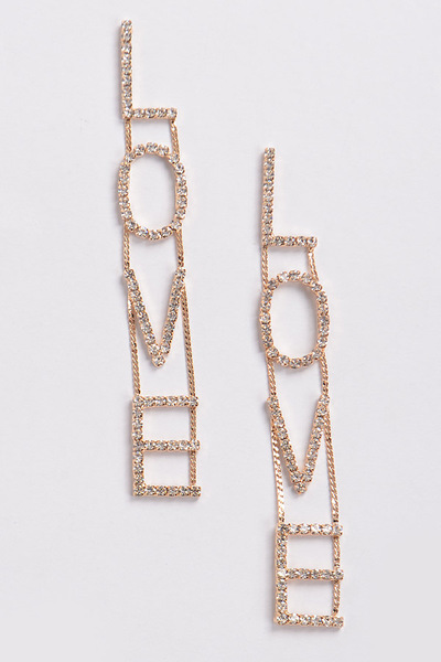 Rhinestone Love Back Drop Earring
