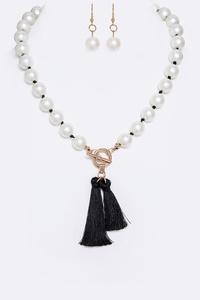 Knotted Pearl Double Tassel Toggle Necklace Set