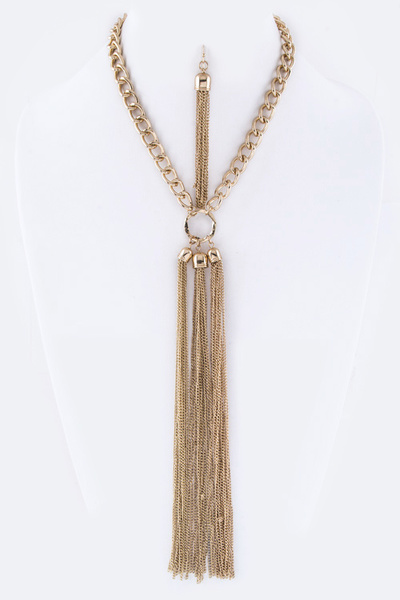 Long Chain Tassels Necklace Set