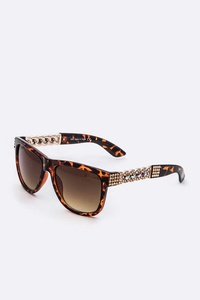 Austrian Crystal Temple Statement Sunglasses