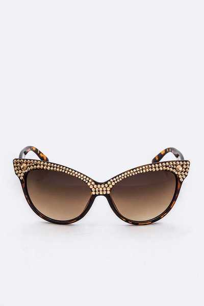 Austrian Crystal Pave Cat Eye Statement Sunglasses