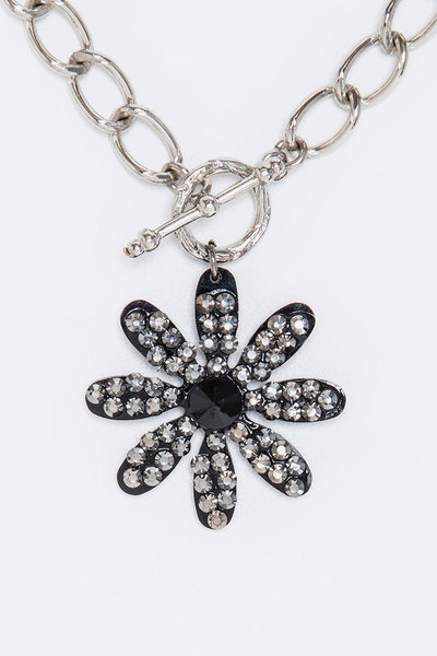 Crystal Pave Flower Toggle Necklace