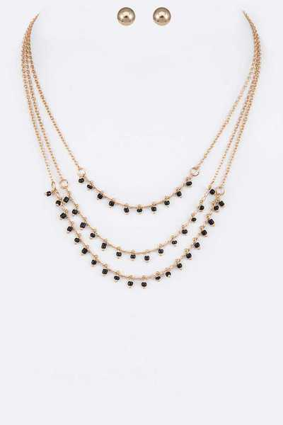 Dainty Crystal Beads Layer Necklace Set
