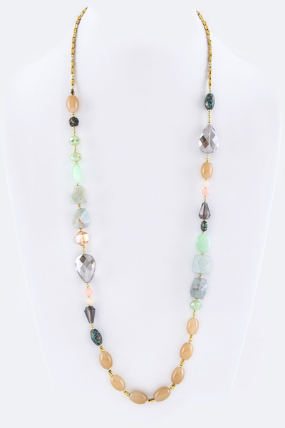 Mix Beads Long Station Necklace