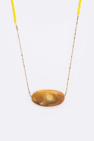 Oval Precious Stone Pendant Necklace