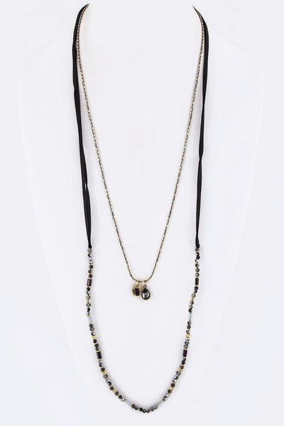 Mix Beads & Crystal Charms Layer Necklace