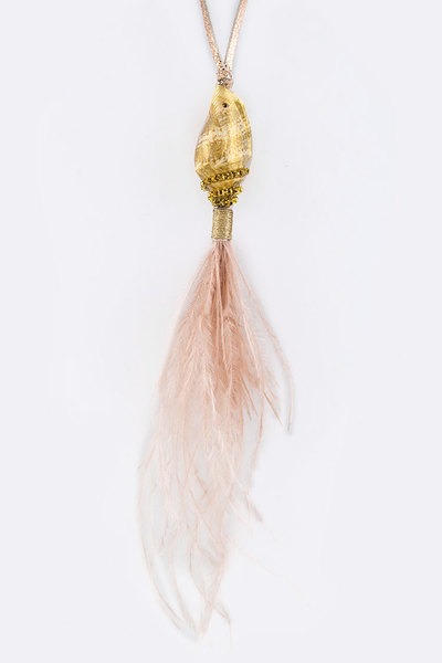 Shell & Feather Tassel Necklace