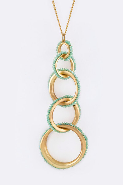 Linked Bead Hoops Pendant Necklace