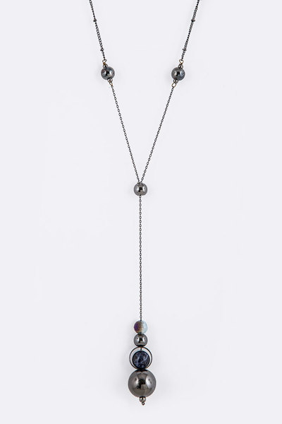 Mix Beads Long Drop Iconic Pendant Necklace