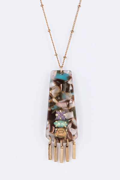 Crystal Accent Celluloid Fringe Pendant Necklace