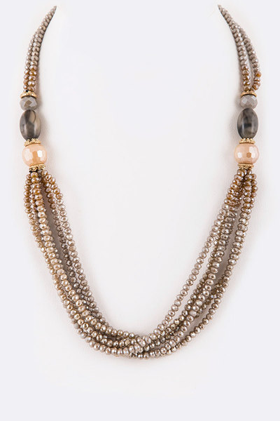 Mix Beads Layer Short Necklace