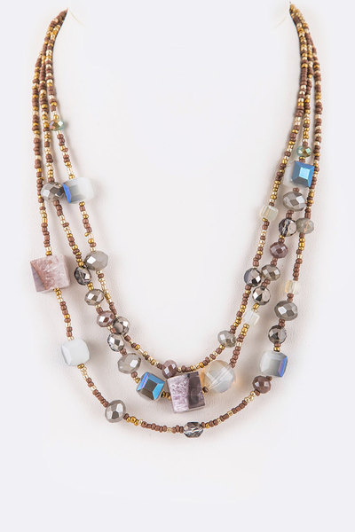 Mix Crystal Seed Beads Layered Handmade Necklace