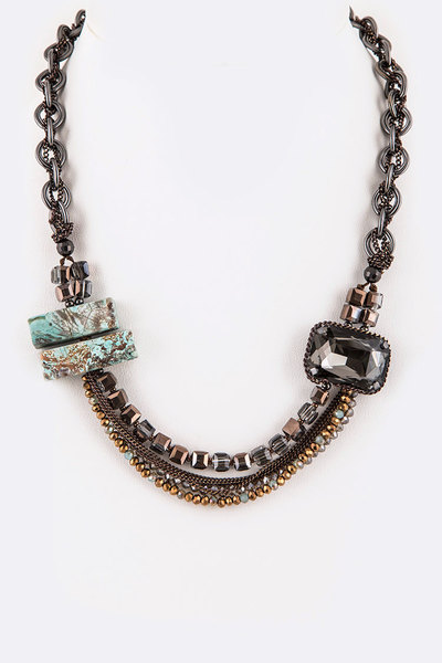 Genuine Stone & Crystal Mix Chain Iconic Necklace