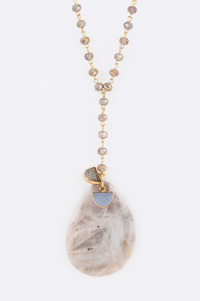 Natural Stone Crystal Station Long Pendant Necklace