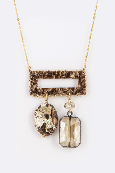 Celluloid Stone Crystal Drop Pendant Necklace