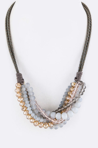 Mix Beads Layer & Braiding Leather Necklace