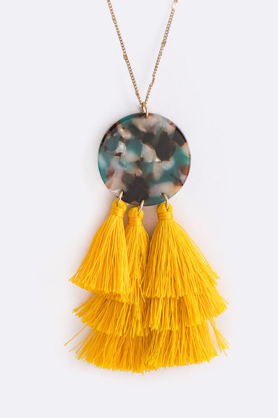 Celluloid Tassel Pendant Necklace