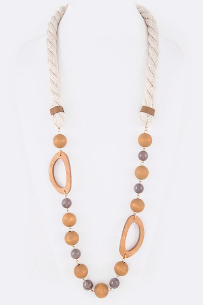 Mix Media Wooden Beads Station Iconic Necklace