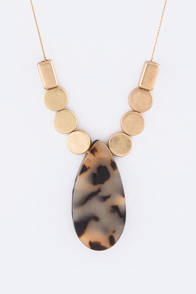 Celluloid Teardrop Slider Pendant Necklace
