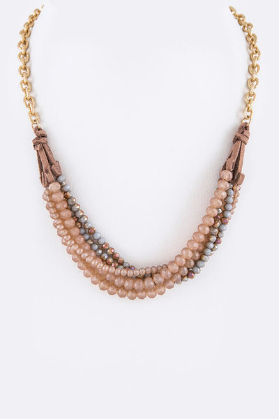 Mix Beads Twisted Layer Necklace