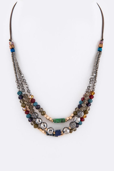 Mix Crystal Stone Bar Layer Necklace