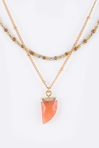 Genuine Stone Horn Pendant Layer Crystal Station Necklace