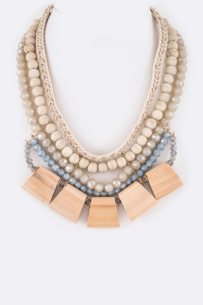 Wood & Crystal Beads Iconic Necklace