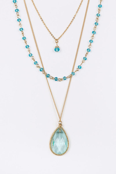 Layered Crystal Teardrop Pendant Necklace Set