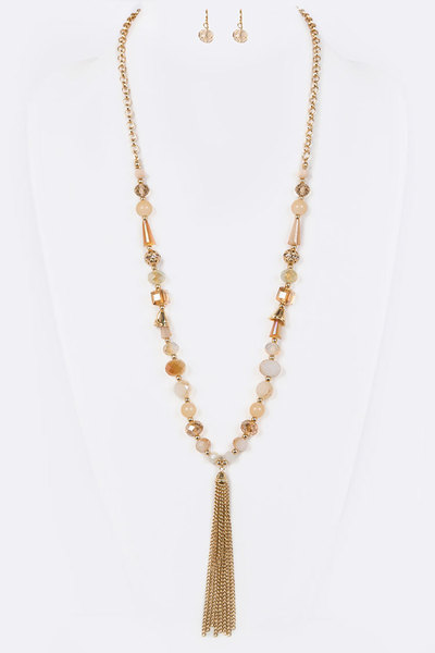 Chain Tassel Mix Crystal Necklace Set