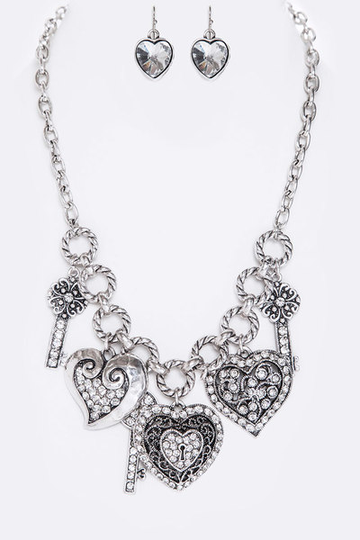Mix Charms Metal Necklace Set