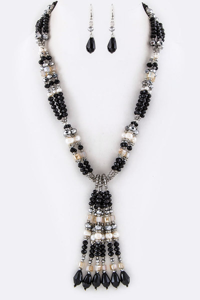 Mix Crystal Beads Tassel Necklace Set