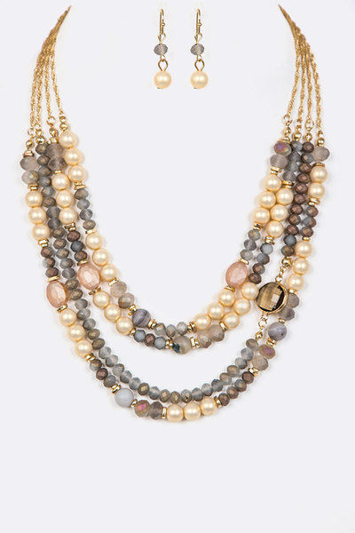 Mix Stone Beads Layer Necklace Set