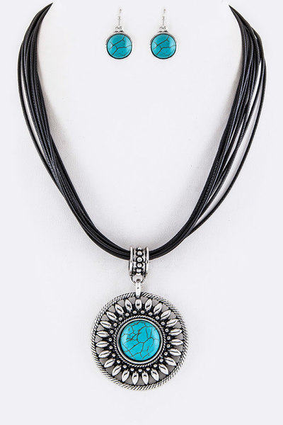 Turquoise Medallion Necklace Set