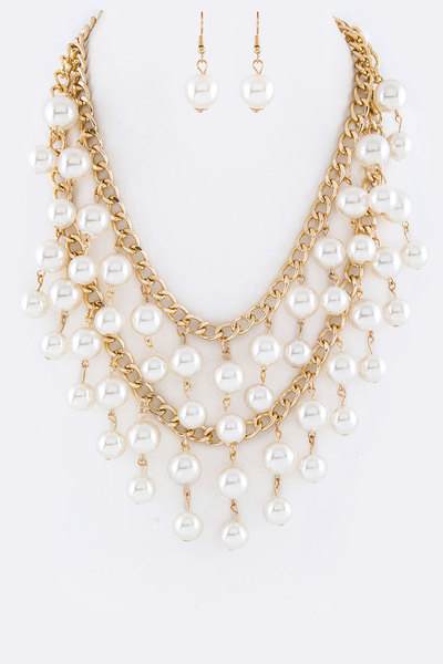 Mix Pearl Drop Layered Necklace Set