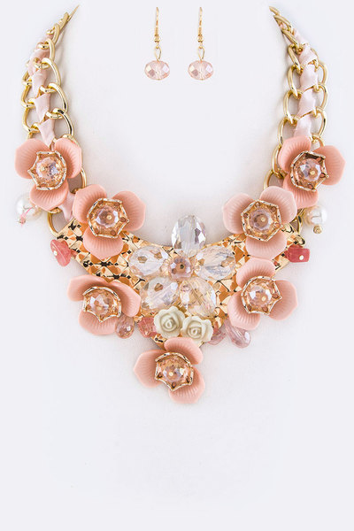 Crystal Flower Iconic Necklace Set