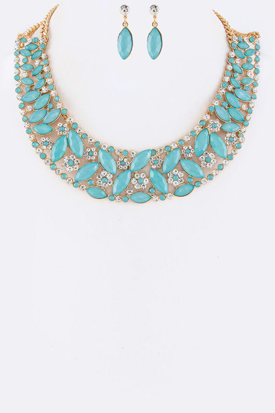 Mix Crystal Collar Statement Necklace Set