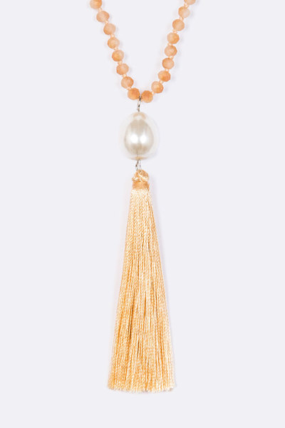 Hand Knotted Pearl Tassel Long Necklace Set