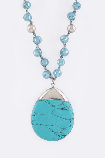 Mix Beads & Turquoise Teardrop Pendant Necklace Set
