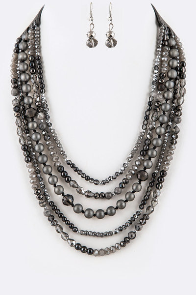 Mix Bead Layered Necklace Set