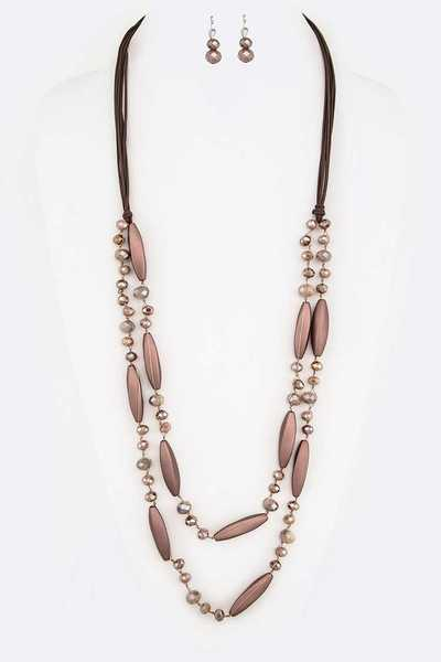 Rubber Coated Metallic Beads Hand Knot Long Necklace Set