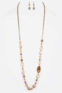 Mix Beads Station Long Necklace Set