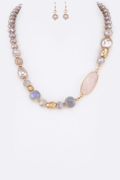 Mix Stone Collar Necklace Set