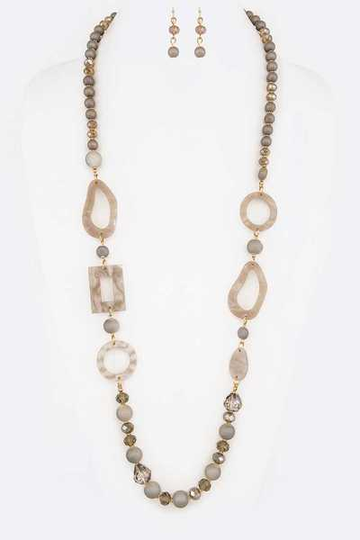 Mix Beads Celluloid Station Long Necklace Set