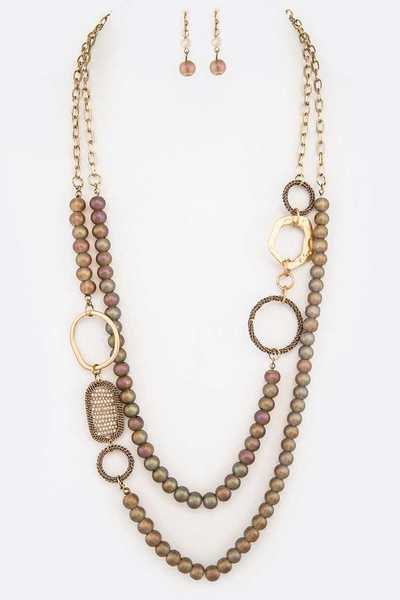 Metallic Beads Layer Necklace Set