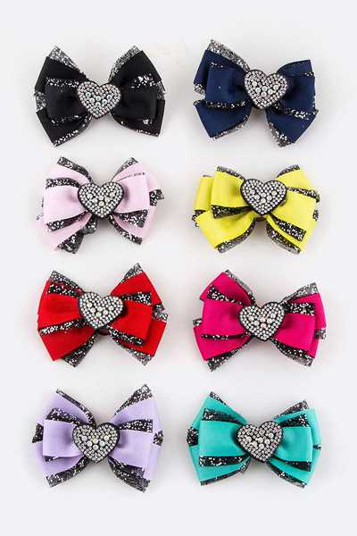 24 PC Crystal Heart Bow Hair Clips Set