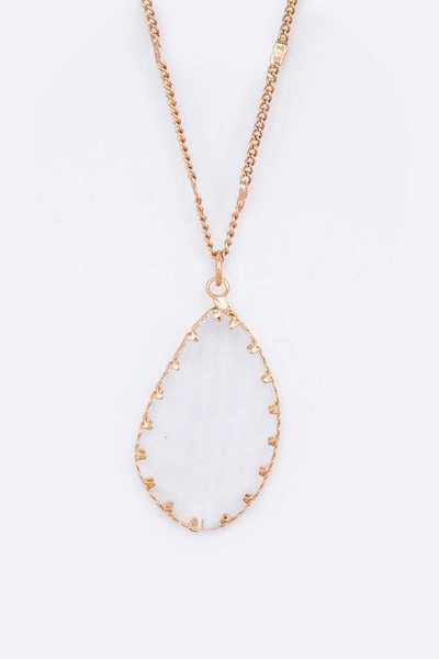 Clear Glass Pendant Long Necklace