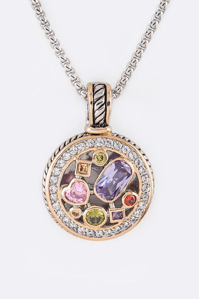 Mix Color CZ Pendant Necklace