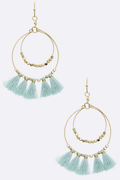 Mini Tassel Double Hoop Earrings