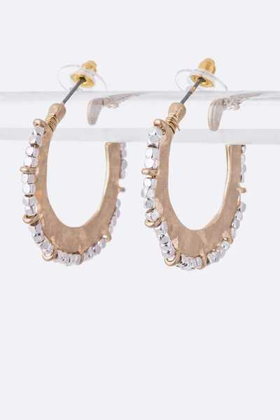 Beaded 2 Tone Iconic Hoops