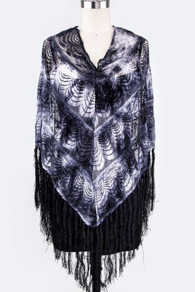 Fringed Wavy Lace Poncho Top